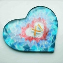 Icelandic glass heart-shaped wedding gift  with lustred detail