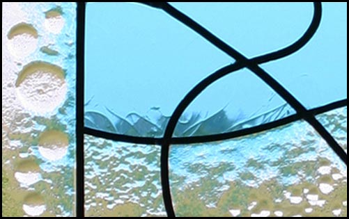 Leaded window panel with fused glass texture (detail)