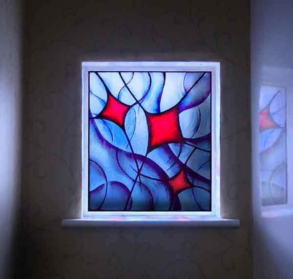 """""""Kites"""": Painted, Leaded Window Panel"""