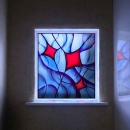 """Kites"": Painted, Leaded Window Panel"